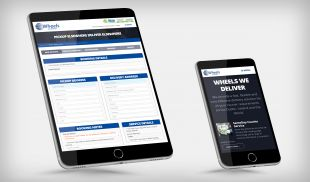 Responsive Website Design - Book a Courier (Tablet) & Services Page (Mobile) - Wheels We Deliver