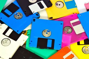 Coloured Floppy disks in a pile